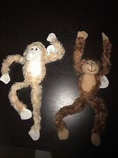 "(2) Two 19"" Plush Hanging Monkey STUFFED ANIMAL monkeys SOFT Hands NEW"