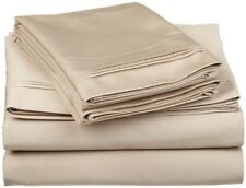 4-pc Full 100% Egyptian Cotton Linen Sheet Set Triple Pleated Hem