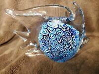 Art Glass Paperweight Sculpture Hand Blown Cobalt Blue Angel Fish