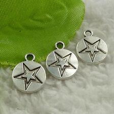 Free Ship 308 pcs tibet silver star charms 14x11mm #4524