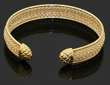 Aurafin designer 18K yellow gold elegant 11.5mm wide woven cuff bracelet