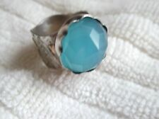Faceted Cut Chalcedony Sterling Silver Cigar Band & 14k Gold Geopmetric Ring