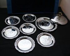 7 Piece Happy Anniversary Silver Plated Plate & Coasters with Free Cover