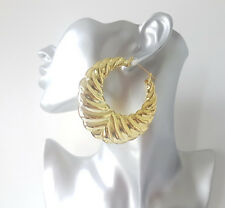 Gorgeous 7.5cm big gold tone chunky gypsy style round creole hoop earrings #EB