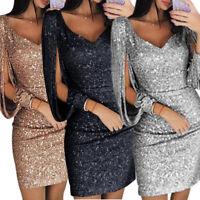 Sexy V-Neck Stylish Dress Slim Party Casual Ladies Elegant Cocktail Mini Sequins