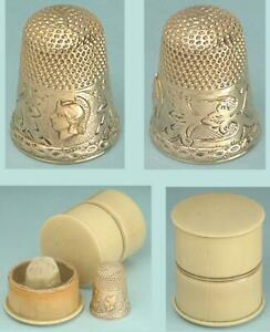 Antique 14 Kt Gold Roman Soldier Thimble in French Ivory Case * Circa 1890
