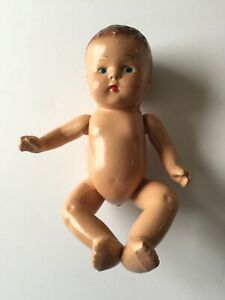 """Vintage E.L. Baby Doll Hard Plastic Celluloid Movable Arms Legs Painted Face 8"""""""