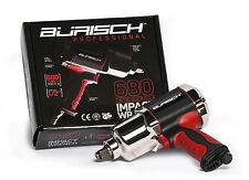 """Burisch Air Impact Wrench 680nm 500ft-lb Twin Hammer 1/2"""" Driver Pro Series"""