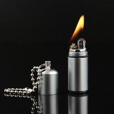 Mini Outdoor Capsule Flint Fire Starter Lighter Keychain Survival Emergency Gear
