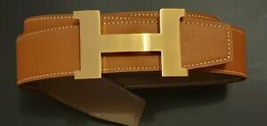 Original Hermes Wendegürtel Gr 90 Rouge H|Gold H Argent Goldener Gebürstet