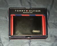 New In Box Tommy Hilfiger Black Genuine Leather Passcase Wallet