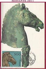 ITALIA MAXIMUM MAXI CARD 1988 I BRONZI DI PERGOLA ANNULLO PERGOLA PS B6