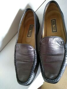 HB Italia Loafers Moccasins Pewter Silver Leather Italian 6