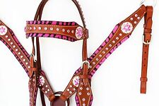 PINK ZEBRA BLING WESTERN LEATHER HORSE BRIDLE HEADSTALL BREASTCOLLAR TACK SET