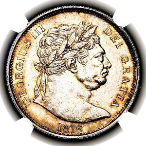 1816 King George III Great Britain Silver Halfcrown Half 1/2 Crown NGC MS62
