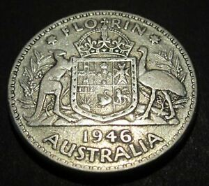 1946 Australia 2/- Two Shillings One Florin ** ERROR DIE CRACKS BOTH SIDES #2595