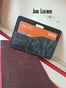 Card case, black and green leather , Port cartes ,Kartenhulle ,Portacarte