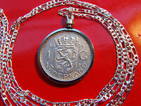 "Lion of Netherlands Silver Coin Pendant on a 20"" 925 ITALY Sterling Silver Chain"
