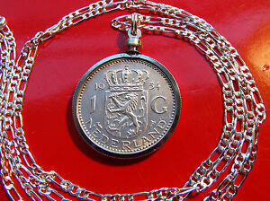 """Lion of Netherlands Silver Coin Pendant on a 28"""" 925 Sterling Silver Chain"""