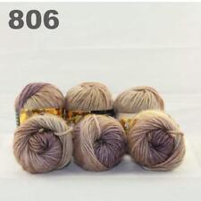 Sale New 6 Skeins x50gr Rainbows Multicolor Hand Knit Wool Yarn Wrap Scarves 06