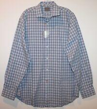 Thomas Dean Mens Blue Black Checks Designer Button-Front Shirt NWT $110 Size L