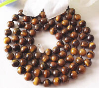 """Genuine Natural 8mm African Yellow Tigers Eye Round Gemstone Beads Necklace 36"""""""