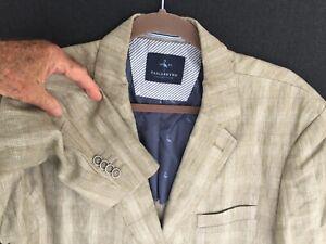 Tailorbyrd linen blazer jacket, tan plaid, light weight, 46 Long