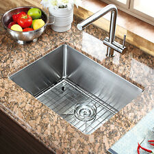 "21"" x 16"" Single Bowl Stainless Steel Hand Made Undermount Kitchen Sink COMBO"