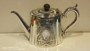 Very Clean Large Antique Vintage Victorian Silver Plated Chased Teapot EPBM