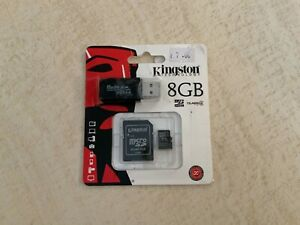 Kingston micro SDC4/8GB Flash Card + SD Adapter + USB Card Reader