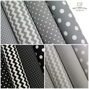 "Cotton Upholstery Canvas Fabric, Spots Polka Dot Chevron Grey, 45"" High Quality"