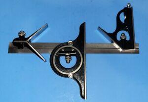 """Vintage Starrett Combination Square 12""""  Center Head Protractor 490 NICE 4r"""