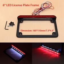 """Universal Motor 6"""" LED License Plate Frame With LED Tail Brake Light Black"""
