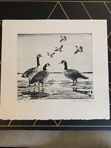 "Original Lmt Edition Churchill Ettinger Signed Art Etching Titled ""Low Tide"""