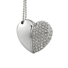 Silver Crystal Heart Shape 8GB USB2.0 Flash Pen Drive Real Capacity Memory Stick