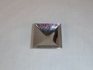 """Vtg Mid Century Square Chrome  2"""" Concave Drawer Pull Cabinet Hardware Reclaimed"""