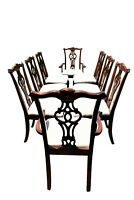 Late 19th Century Antique Chippendale Carved Mahogany Dining Chairs - Set of 8