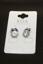 Butterfly Kissing a Flower Designer Cubic Zirconia Earrings White Gold Plated