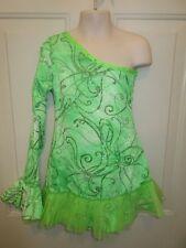 Bright Lime Green One Shoulder Ruffle Dress Dance Costume Medium Child MC 8 10