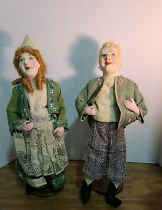 "2 Vintage 19"" Hand Made Swedish Dutch Dolls Paper Mache Stockinette Faces Mohair"