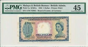 Board of Comm. of Currency Malaya & British Borneo  $1 1953  PMG  45