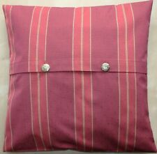 """vintage fabric terracotta striped gold buttons in front cushion cover 18"""""""