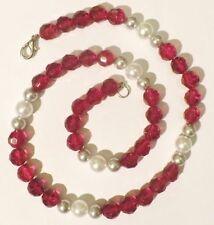 Beau unique collier bijou vintage perles verre rouge rubis blanc gris 4973