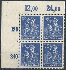 Arbeiter MiNr. 168 im Viererblock vom Plattenoberrand aus Ecke 1 postfrisch (2)