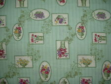Gorgeous Green Cotton Fabric w/  Flowers in Pots  BTHY