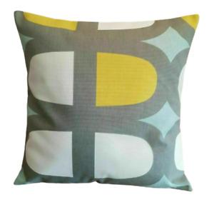 "14"" 16"" 18"" 20"" New Cushion Cover Duck -Egg Blue Yellow Grey Geometric Design"