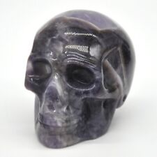 Carved Skull Healing Crystal Gemstone Amethyst Statue Ornament Halloween Decor