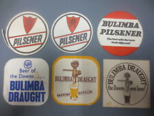 """6 different  BULIMBA  Brewery,Queensland """"CLOSED"""" collectable COASTERS """"RARE"""""""
