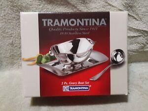 TRAMONTINA 2 PC 18/10 Stainless Steel Gravy Boat Set 80212/404 Dishwasher Safe