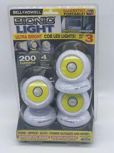 New Bell Howell Magnetic Portable Motion Sensor Ultra Bright COB LED Lights 3Pk